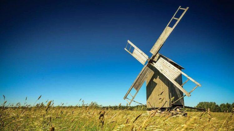 Old wooden windmill on Hiumaa island, Estonia